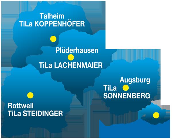 Karte Liefergebiete TiLa Lachenmaier